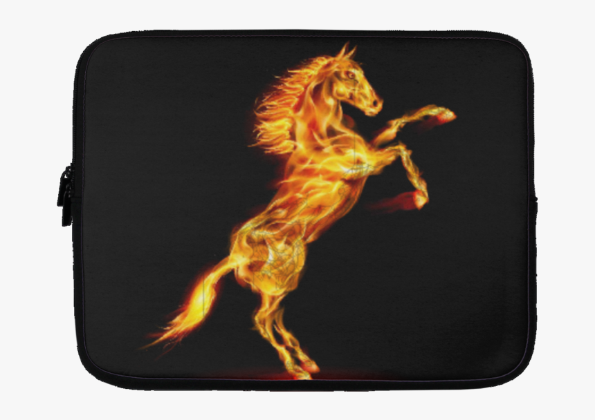 """Running Horse Fire Laptop Cover Customcat""""     Data - Blue Fire Horse, HD Png Download, Free Download"""