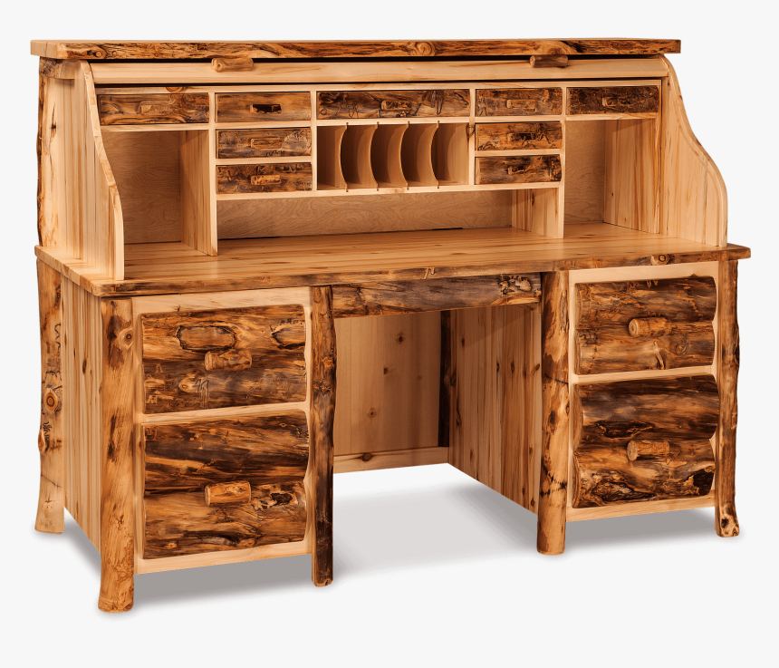 Roll Top Desk Office Log Furniture In - Log Desk Furniture, HD Png Download, Free Download