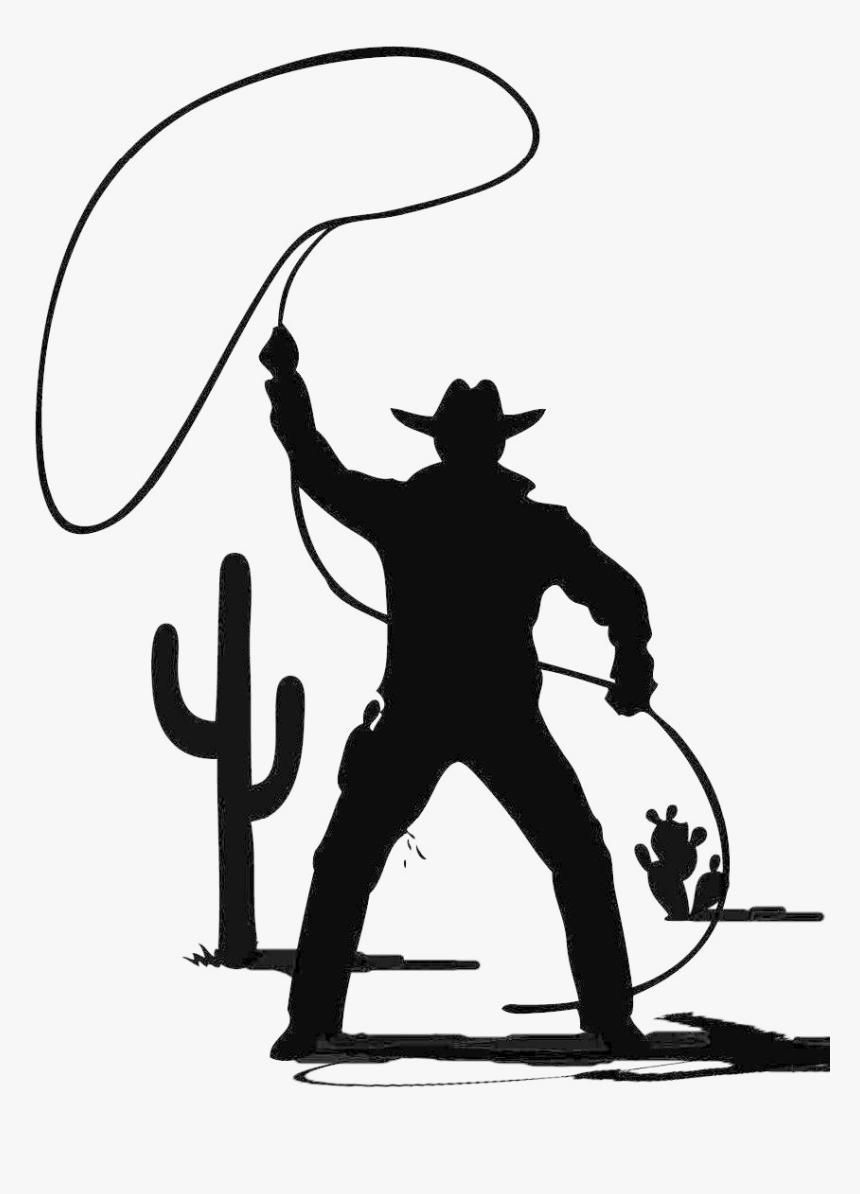 Lasso Cowboy Clipart , Png Download - Cowboy With A Lasso Silhouette, Transparent Png, Free Download
