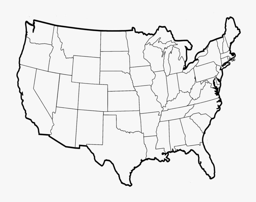 Transparent Usa Map Outline Png, Png Download - kindpng