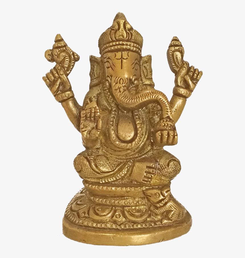 Brass Idol Of Lord Ganesha Holding Sangu Statue, 4 - Bronze Sculpture, HD Png Download, Free Download