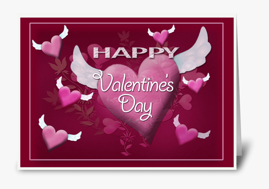 Flying Hearts, Valentine Greeting Greeting Card - Christmas Card, HD Png Download, Free Download