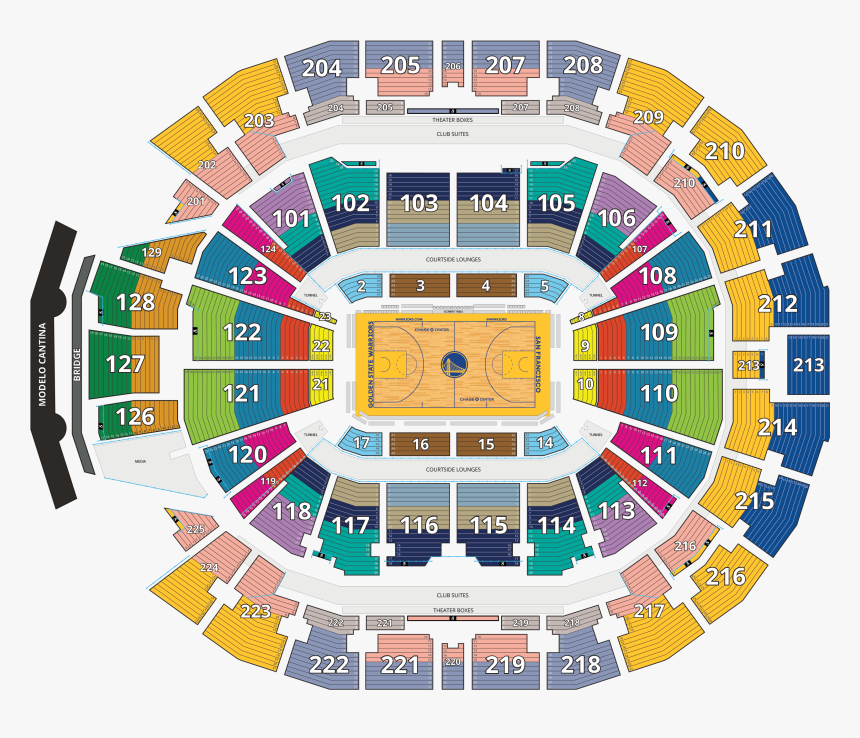 Chase Center Seating Map - Seating Golden State Warriors Chase Center Seating, HD Png Download, Free Download