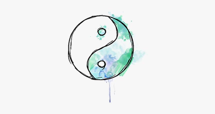 #yinyang #japan #japon #china #colorspash #tumblr #colors - Colored Yin Yang Drawings, HD Png Download, Free Download