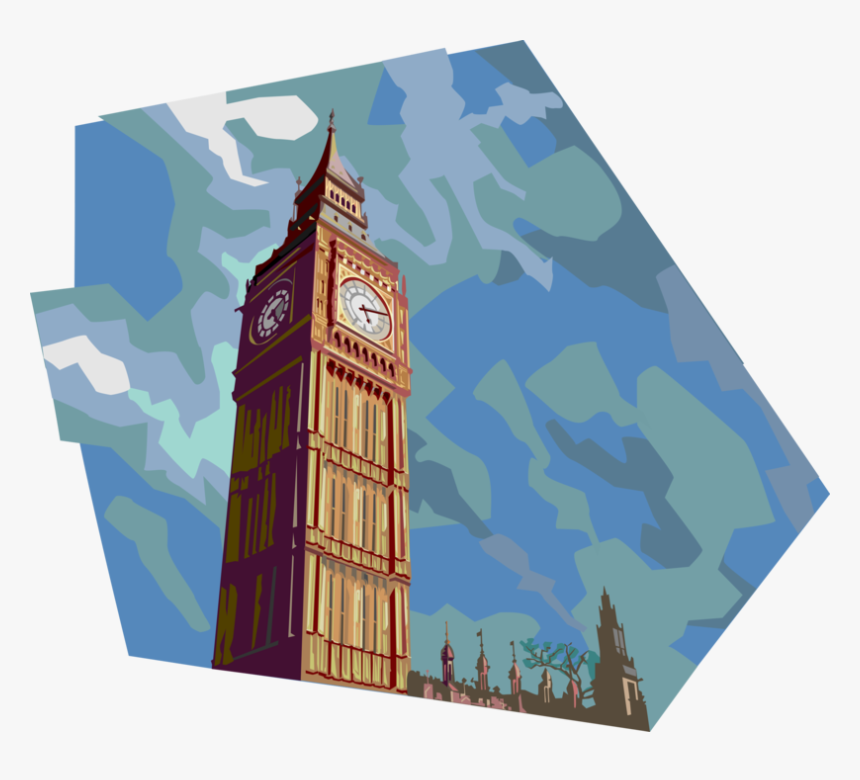 Vector Illustration Of Big Ben Clock Tower Tourism - Big Ben Londres Vector Png, Transparent Png, Free Download