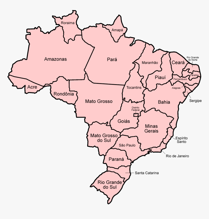 Brazil States Named - Brazil Political Map Blank, HD Png Download, Free Download