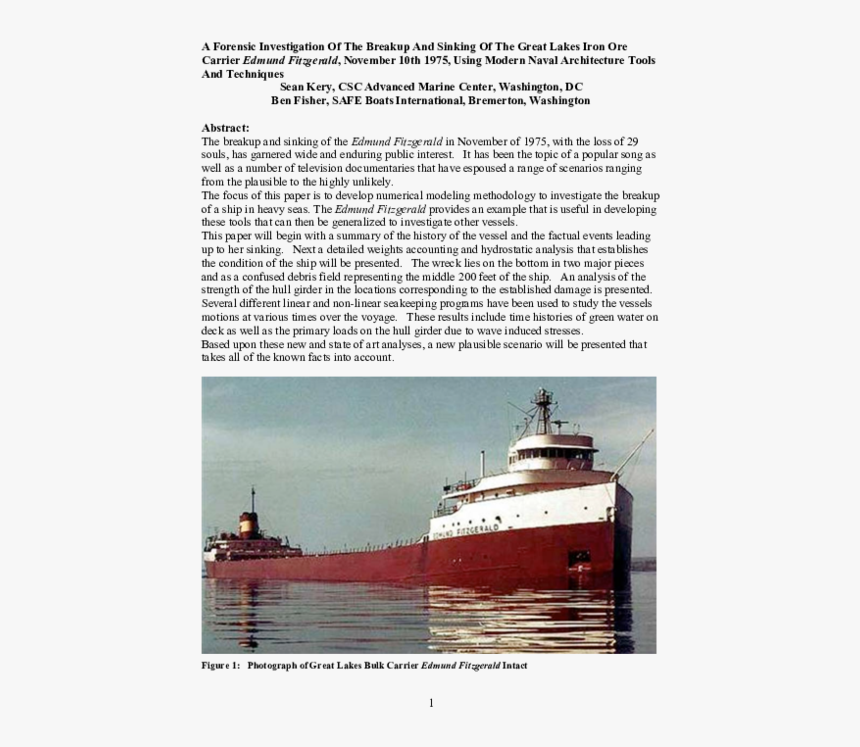 Edmund Fitzgerald Compared To Titanic, HD Png Download, Free Download