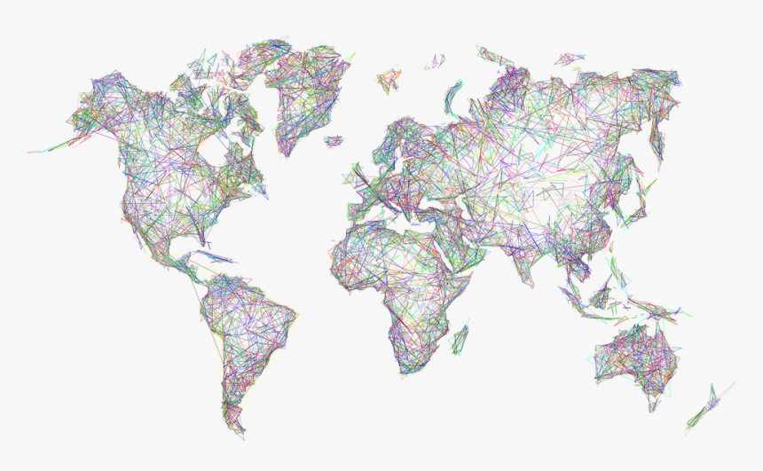 World, Map, Earth, Abstract, Geometric, Art, Borders - World Map Single Color, HD Png Download, Free Download
