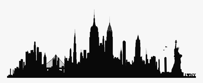 New York City Skyline Silhouette Wall Decal Phonograph - New York Skyline Png, Transparent Png, Free Download