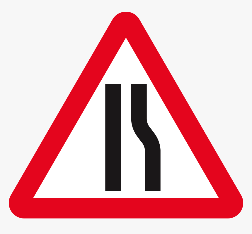 Singapore Road Signs - Road Narrows On Right Sign, HD Png Download, Free Download