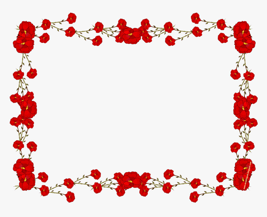 Red Wedding Border Png Red Flower Borders And Frames