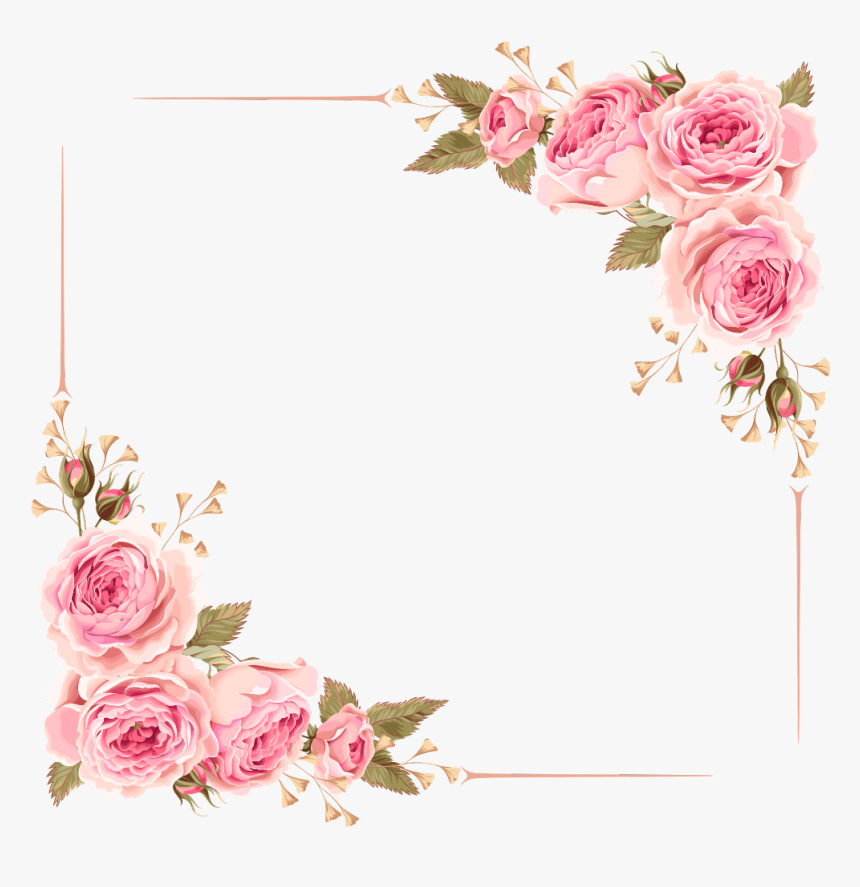 Flower Border, Flower Clipart, Frame, Border Png - Border Simple Flower Frame, Transparent Png, Free Download
