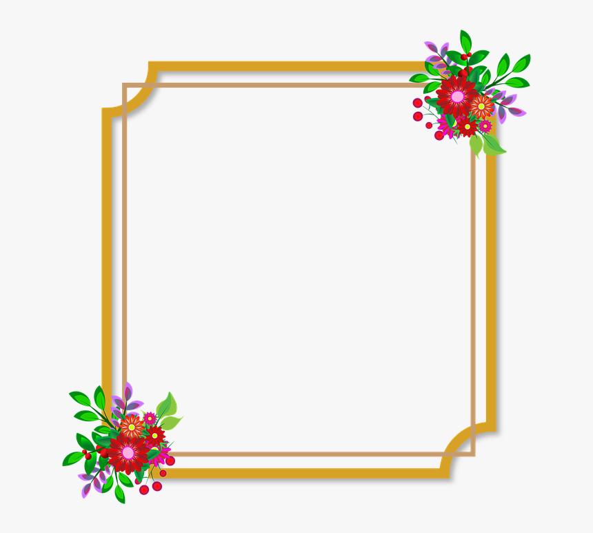 Photo Frame, Flowers, Wedding, Love, Happiness, Style - Flowers Frame Frame Png Border Design, Transparent Png, Free Download