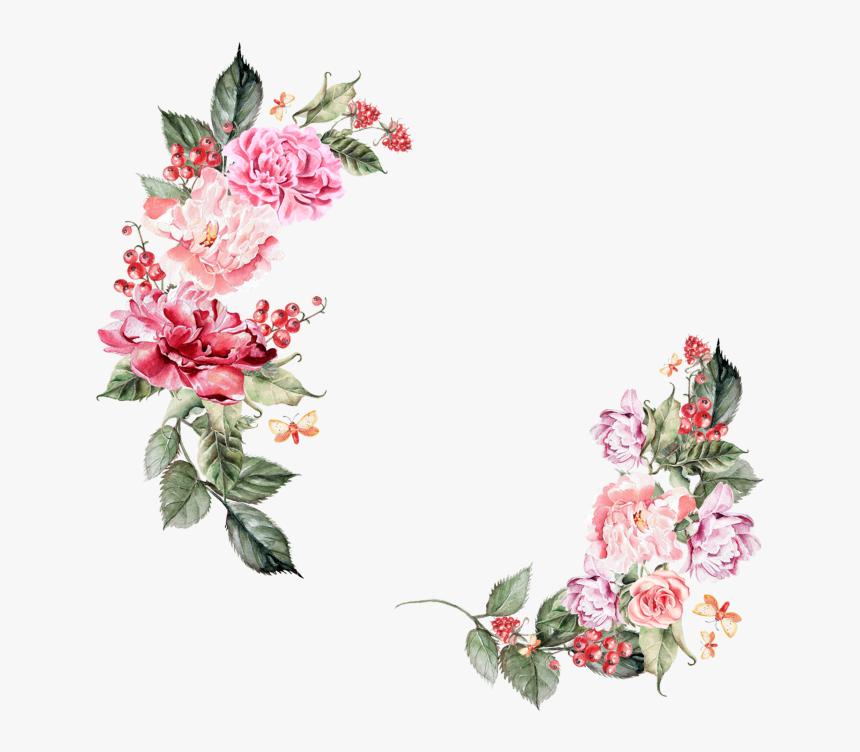 Flowers Border Png - Floral Border Png Hd, Transparent Png, Free Download