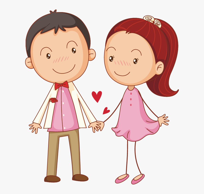 Couple Illustration Cute Little Transprent Png Free - Cartoon Couple Hand Holding, Transparent Png, Free Download