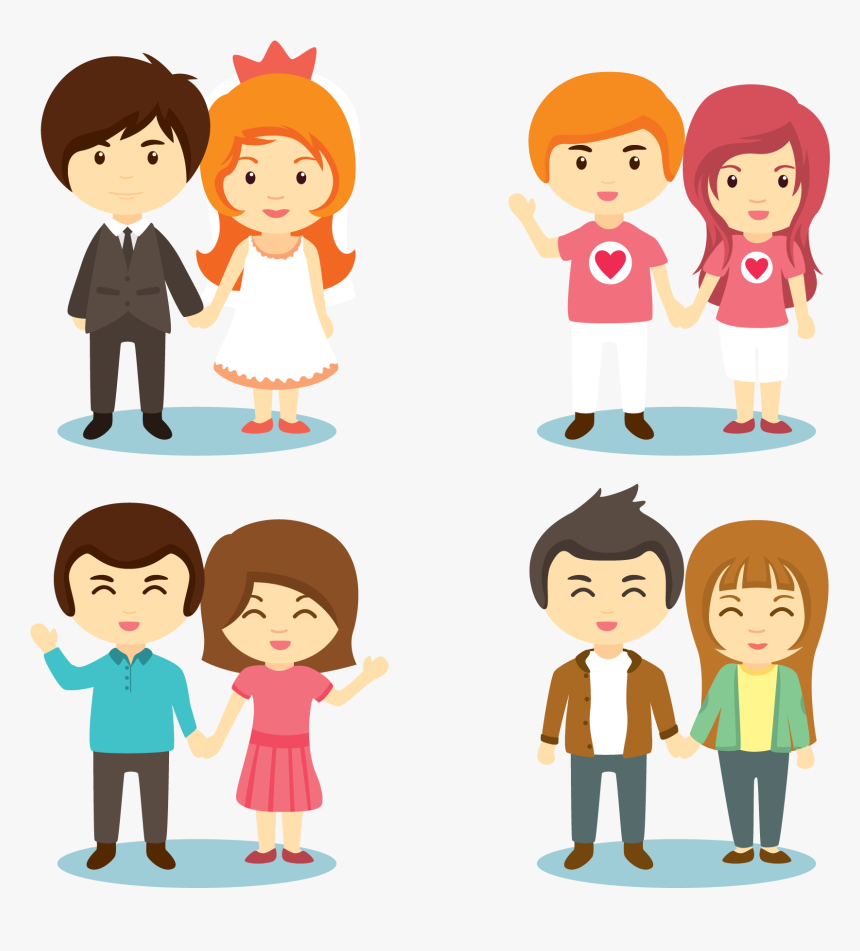Cartoon Couple Holding Hands - Couple Holding Hands Png Cartoon, Transparent Png, Free Download