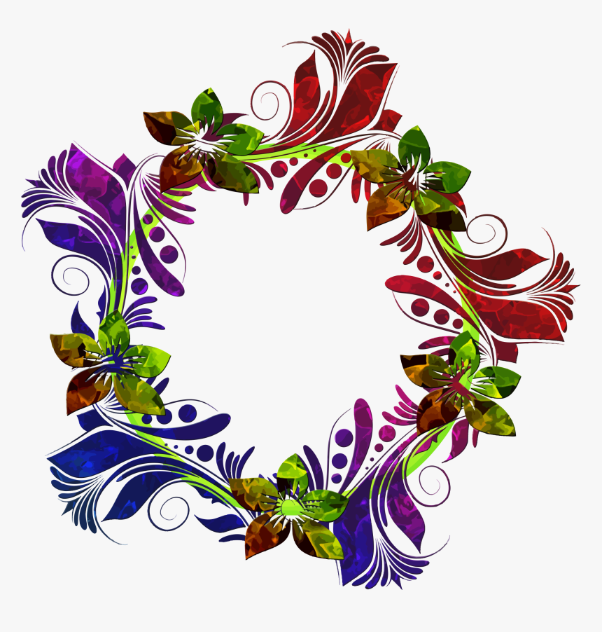 Colorful Floral Wreath Clip Arts - Birthday Card Flower Design Png, Transparent Png, Free Download