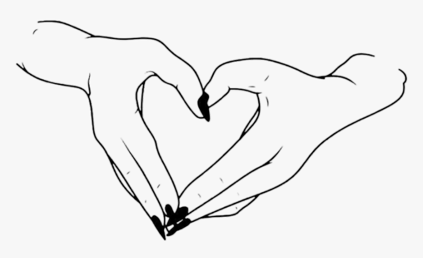 #blackandwhite #hands #heart #love #lineart - Love Lineart, HD Png Download, Free Download