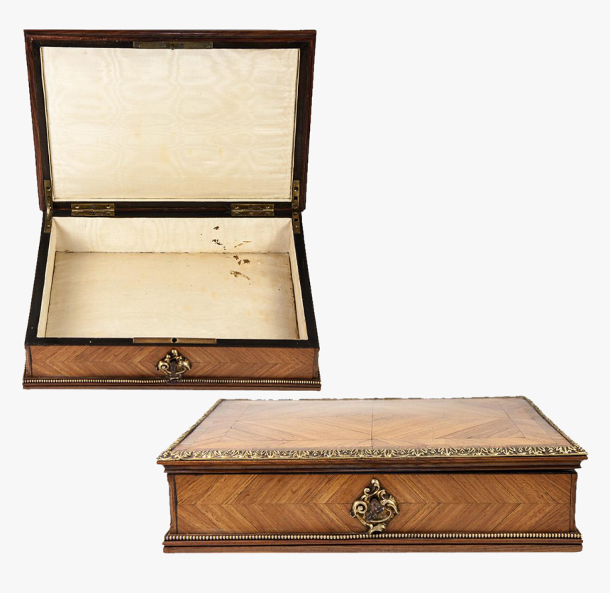 Antique 1800s French Kingwood & Ormolu Jewelry Box - 1800s Jewelry Box, HD Png Download, Free Download
