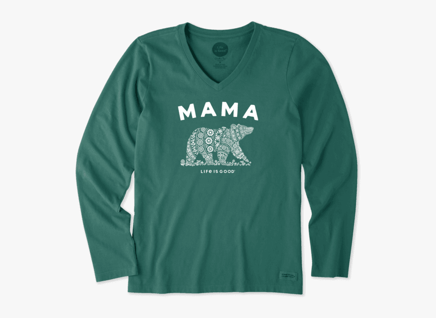 """Women""""s Tribal Mama Bear Long Sleeve Crusher Vee - Life Is Good, HD Png Download, Free Download"""