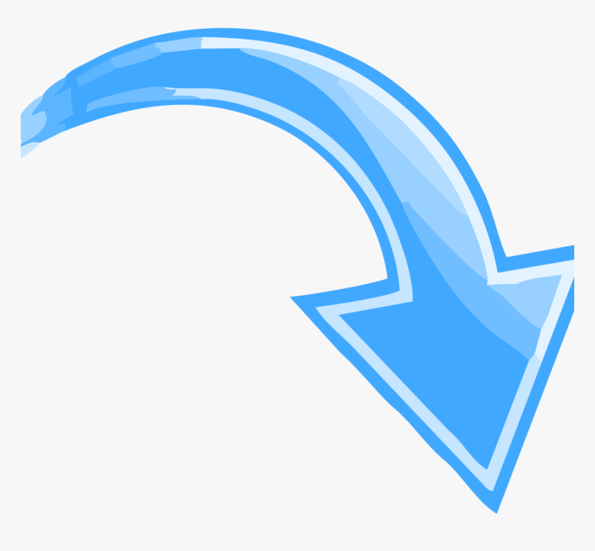 Blue Curved Arrow Transparent Pointing Down Right The - Arrow Pointing Down Right, HD Png Download, Free Download