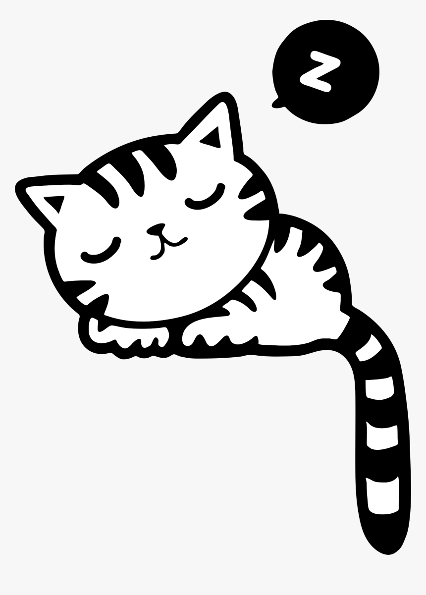 Sleeping Kitty Clip Arts - Sleeping Cat Clipart Black And White, HD Png Download, Free Download