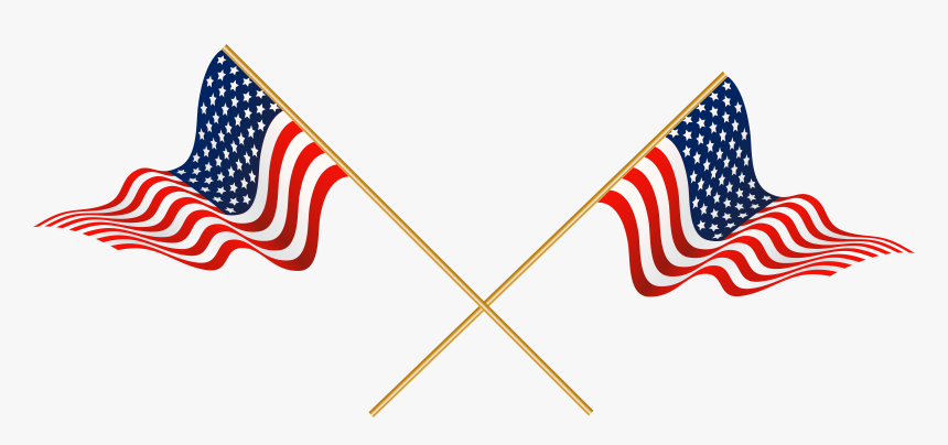United Usa Of Cross States Flag Crossed Clipart - Crossed American Flags Clip Art, HD Png Download, Free Download