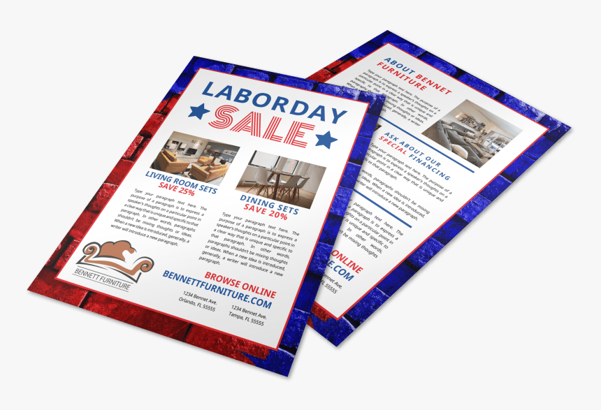 Labor Day Furniture Sale Flyer Template Preview - Flyer, HD Png Download, Free Download