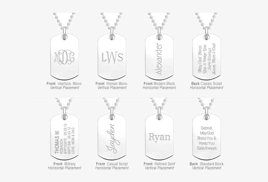 Dog Tag Necklace In Sterling Silver, Engraved Font - Illustration, HD Png Download, Free Download