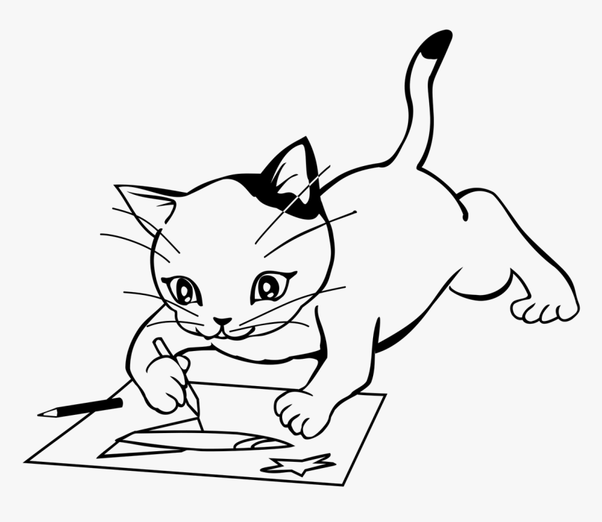 Kitten Play Draw A Picture Free Picture - ภาพ วาด ลูก แมว, HD Png Download, Free Download