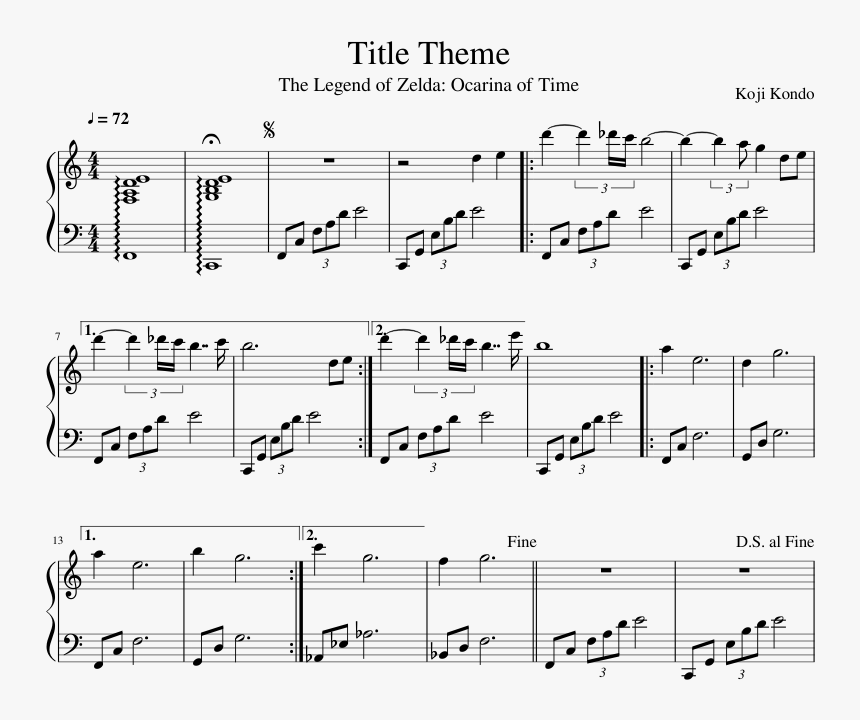Ocarina Of Time Title Theme Piano Sheet Music, HD Png Download, Free Download