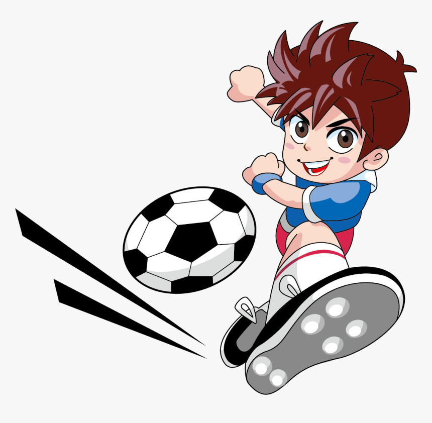 Player Play Football Goalkeeper Boys Free Hq Image Cartoon Kids Playing Soccer Png Transparent Png Kindpng