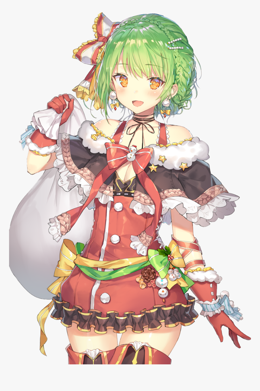 #santa #girl #anime #cute #christmas #ribbon - Girls Art Anime, HD Png Download, Free Download