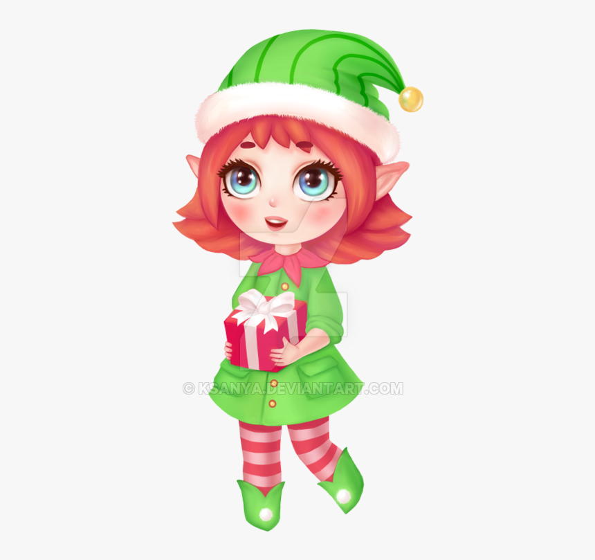 Cartoon,green,fictional Elf,plant,mythical Creature,christmas,wig - Chibi Elf Christmas Drawing, HD Png Download, Free Download