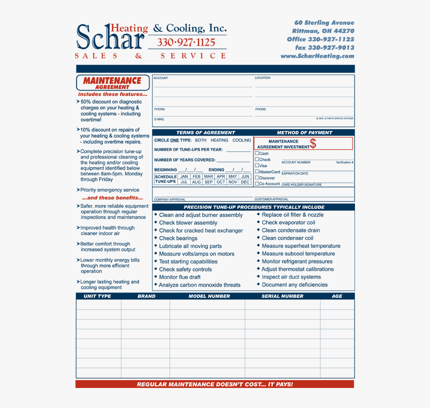 Hvac Service Contract Template from www.kindpng.com