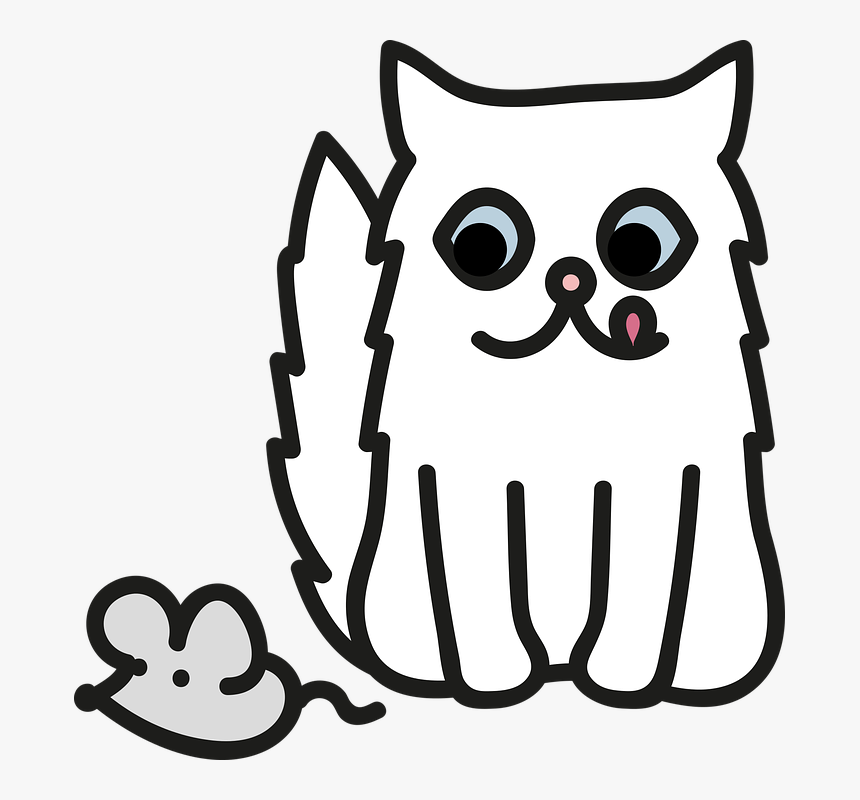Cat, Persian, White, Mouse, Hunger, Fun, Cute, Animal - Cat Vector Png Persian, Transparent Png, Free Download