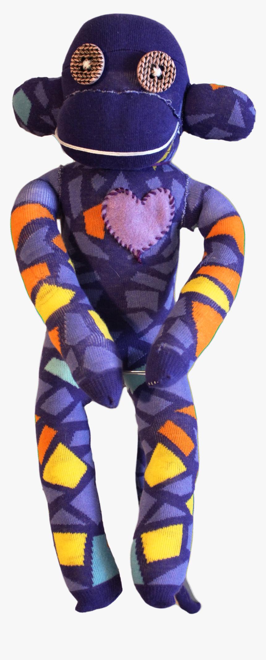 Handmade Sock Monkey Plush Toy With Funky Pattern Socks - ÷ Pattern Socks, HD Png Download, Free Download
