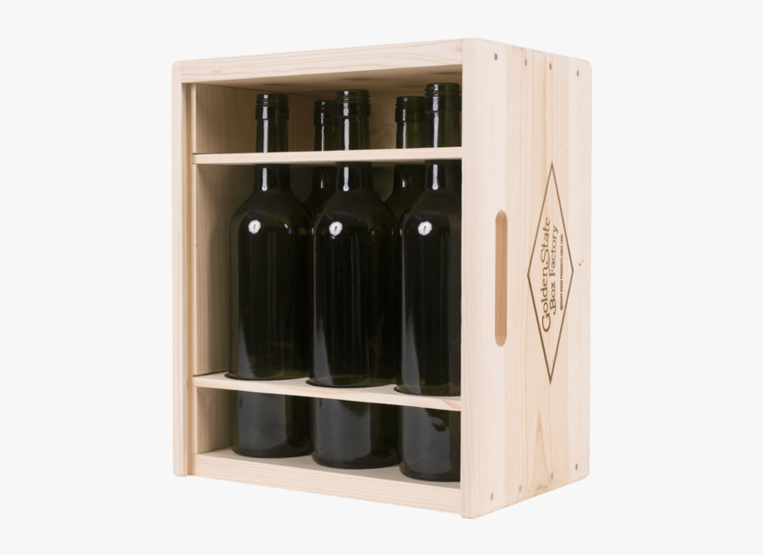 Premium 6 Bottle Pinewood Sliding Lid Wine Box With - Wine Box Png, Transparent Png, Free Download