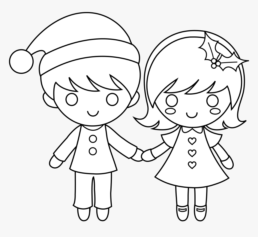 Christmas Kids Line Art - Boy And Girl Holding Hands, HD Png Download, Free Download