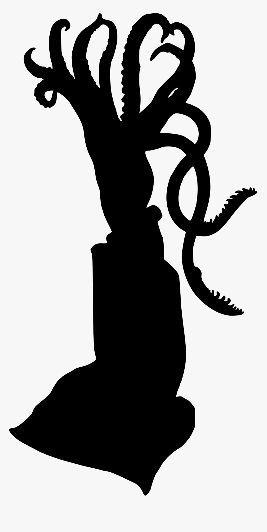 Giant Squid Silhouette Clip Art - Squid Clipart Silhouette Transparent, HD Png Download, Free Download