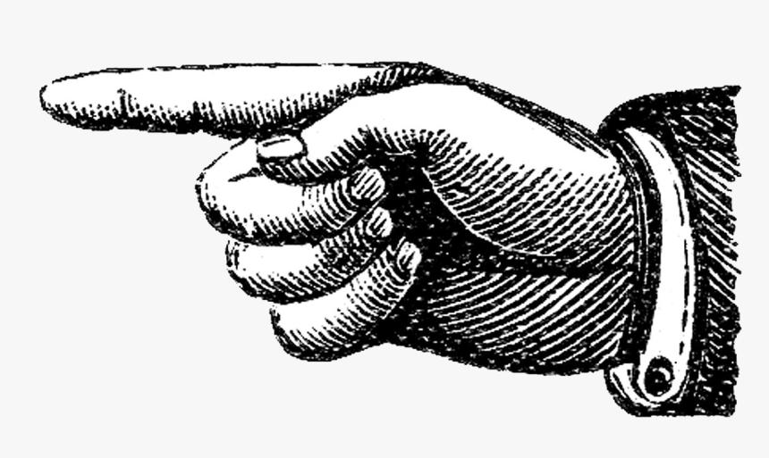 Transparent Clipart Reminder Finger - Vintage Pointing Finger, HD Png Download, Free Download
