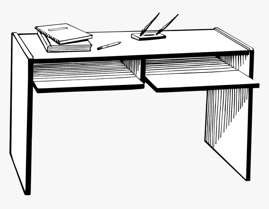 Book On The Table Clipart Black And White 1 » Clipart - Black And White Desk Clipart, HD Png Download, Free Download