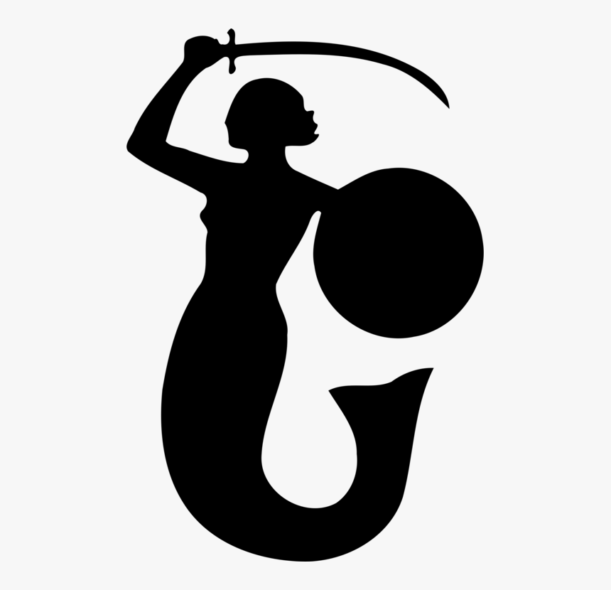 Clip Art Mermaid Black And White Clipart - Mermaid With Sword Symbol, HD Png Download, Free Download