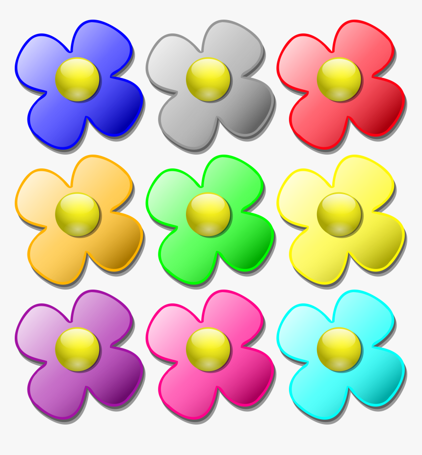 Color Flowers Clip Art Printable Coloring Pages Free - Different Color Flower Clipart, HD Png Download, Free Download