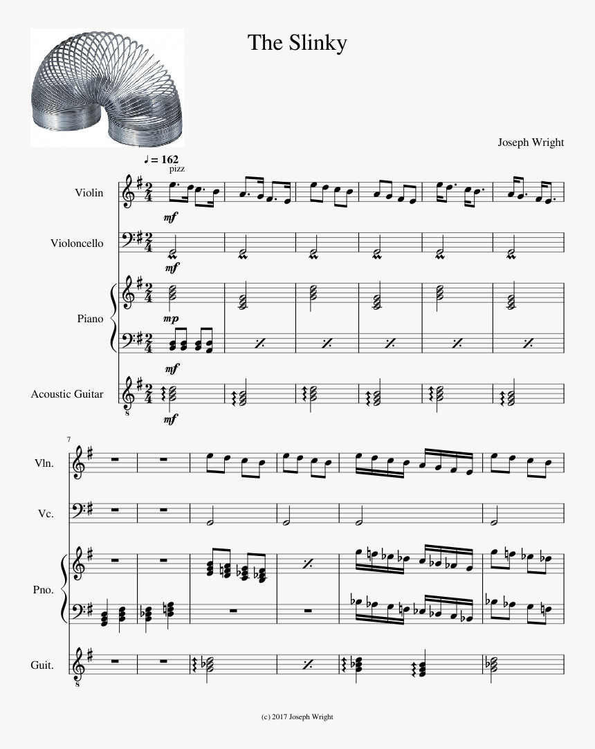 Transparent Slinky Png - Wii Sports Theme Piano Sheet Music Easy, Png Download, Free Download