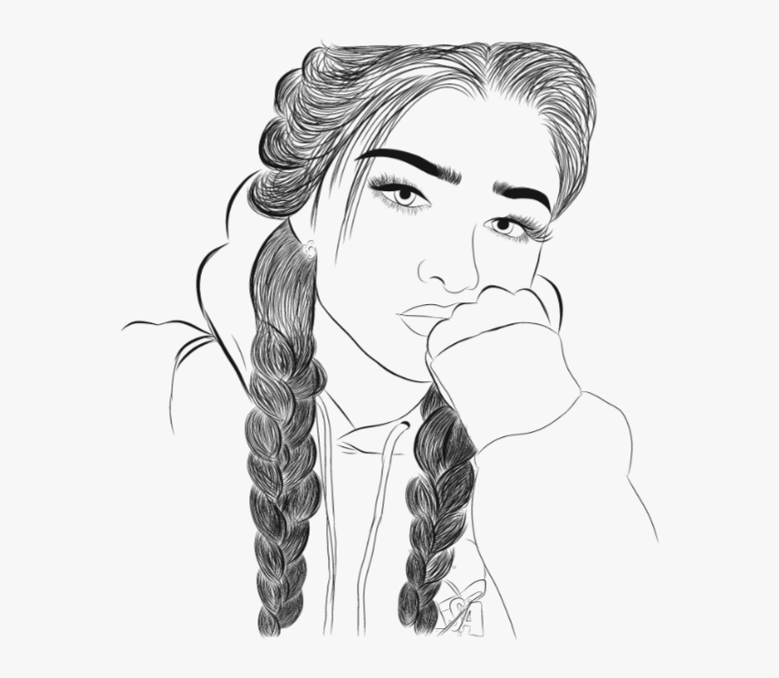 Girl Drawing With Braids, HD Png Download, Free Download