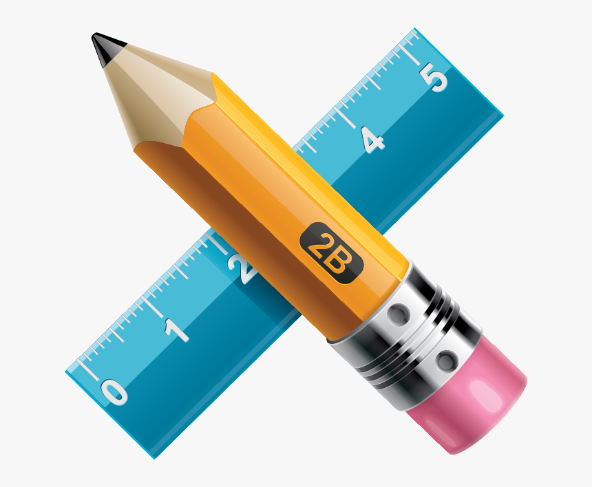 Pencil And Ruler Icon Transparent Background, HD Png Download, Free Download