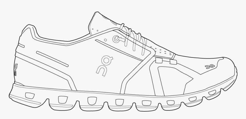 Track Running Shoes Outline - Shoe Black And White, HD Png Download, Free Download