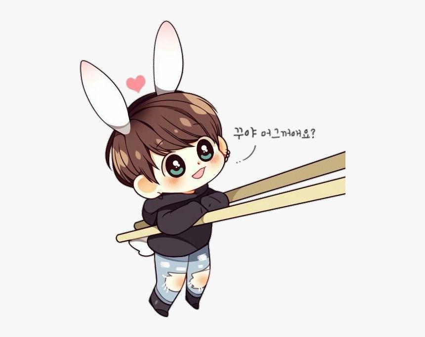 Bts Jungkook Chibi Bunny Cute Sticker Vyiiu Png Jungkook Bts