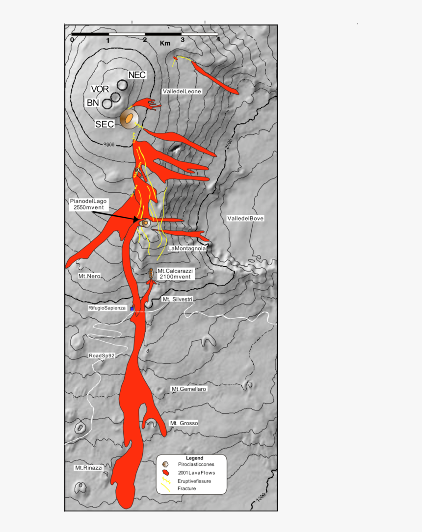 Map Of The Lava Flow Field And Field Of Fractures Formed - Illustration, HD Png Download, Free Download